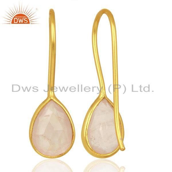 Suppliers Rose Quartz Dangle 14K Yellow Gold Plated 925 Sterling Silver Earrings Jewelry