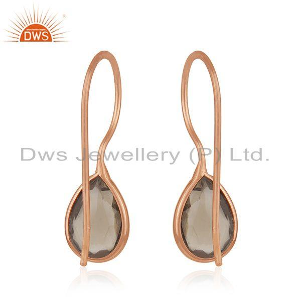 Suppliers Handmade Rose Gold Plated 925 Silver Smoky Quartz Stone Earrings for Girls