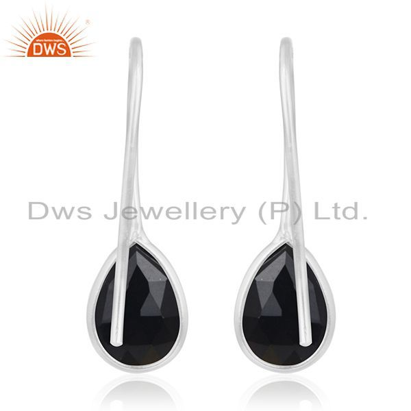 Suppliers Multi Checker Black Onyx Gemstone Fine 925 Sterling Silver Earring Manufacturers