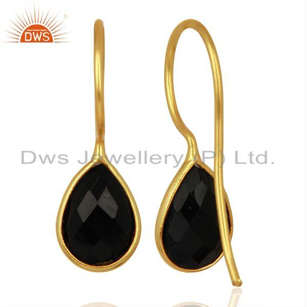 Suppliers Black Onyx Dangle 14K Gold Plated 925 Sterling Silver Earrings Gemstone Jewelry