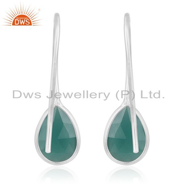 Suppliers Fine 925 Sterling Silver Green Onyx Gemstone Dangle Earring Manufacturer India