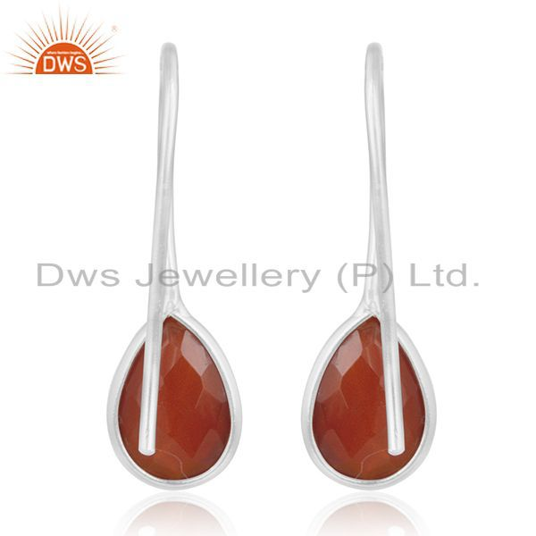 Suppliers Red Onyx Gemstone 925 Sterling Silver Handmade Earring Manufacturer of Jewellery