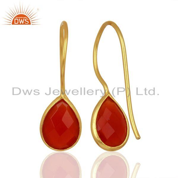 Suppliers Red Onyx Drop 14K Yellow Gold Plated 925 Sterling Silver Earrings Jewelry