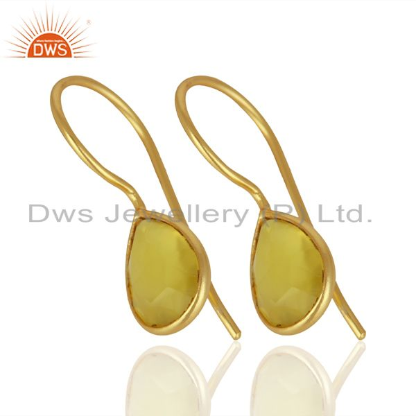 Suppliers Yellow Chalcedony Drop 14K Yellow Gold Plated Sterling Silver Earrings Jewelry