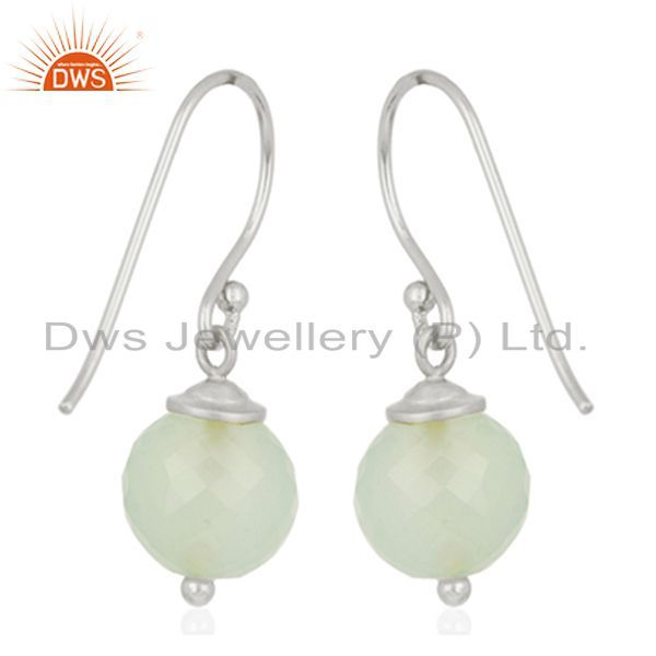 Suppliers Aqua Chalcedony Gemstone 925 Sterling Fine Silver Drop Earrings Wholesale