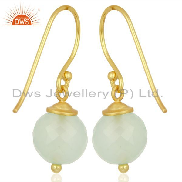 Suppliers Handmade Aqua Chalcedony Gemstone Gold Plated Silver Earrings Supplier