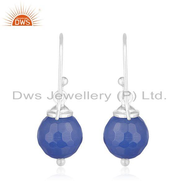 Suppliers Blue Chalcedony Gemstone 92.5 Sterling Fine Silver Drop Earrings Manufacturers