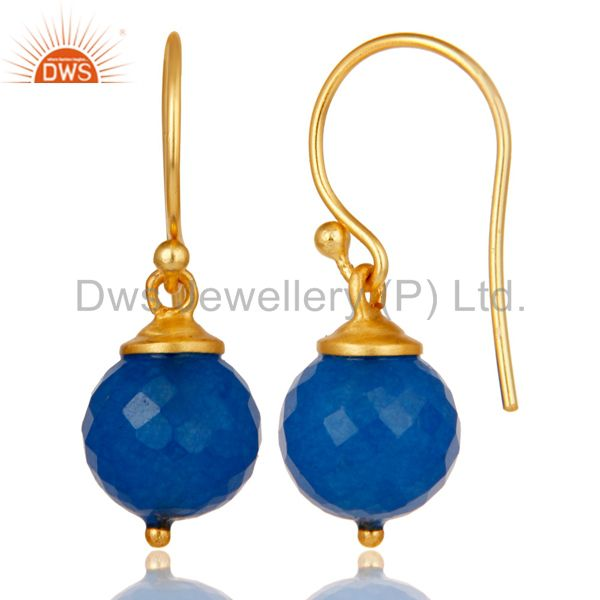 Suppliers 18K Gold Plated 925 Sterling Silver Dyed Blue Chalcedony Drops Earrings Jewelery
