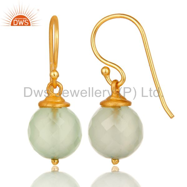 Suppliers 18K Gold Plated Sterling Silver Prehnite Chalcedony Hook Earrings For Womens