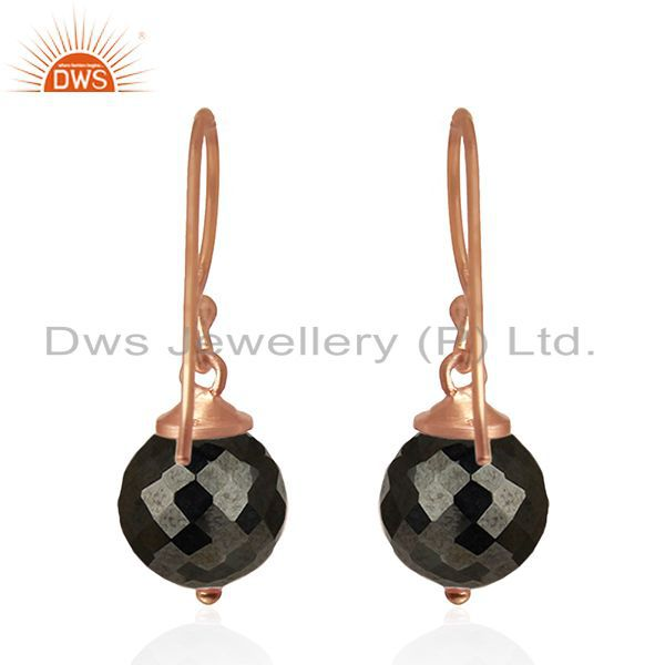 Suppliers Hematite Gemstone Rose Gold Plated 925 Silver Drop Earrings Manufacturer India