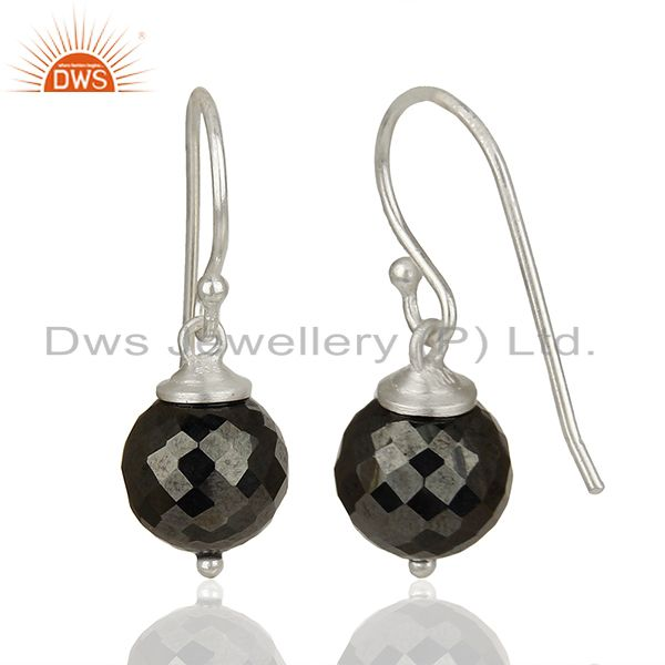 Suppliers Round Hematite Gemstone 925 Silver Drop Girls Earrings Jewelry