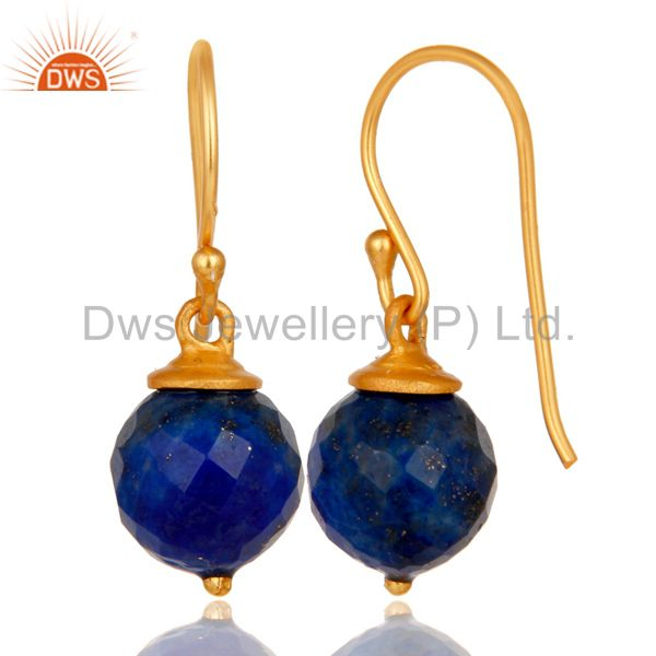 Suppliers 18K Yellow Gold Plated Sterling Silver Lapis Dangle Hook Earrings For Womens