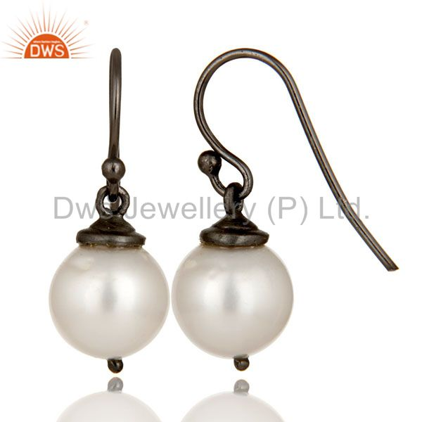 Suppliers Oxidized Sterling Silver White Pearl Dangle Hook Earrings For Womens