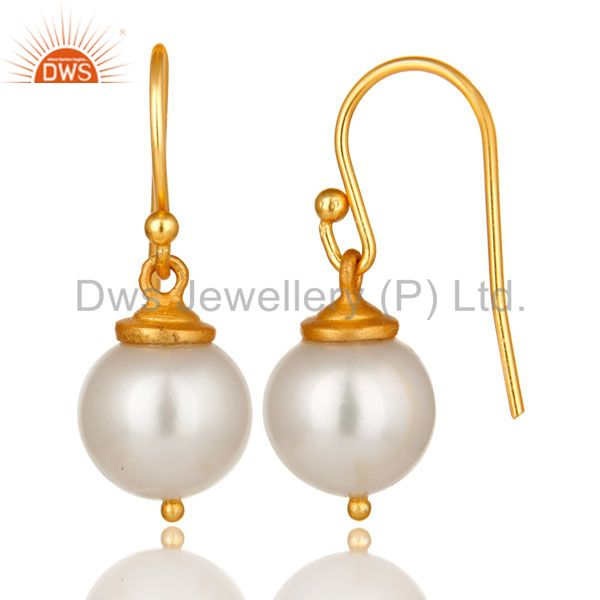 Suppliers 18K Yellow Gold Plated Sterling Silver Pearl Dangle Hook Earrings For Womens