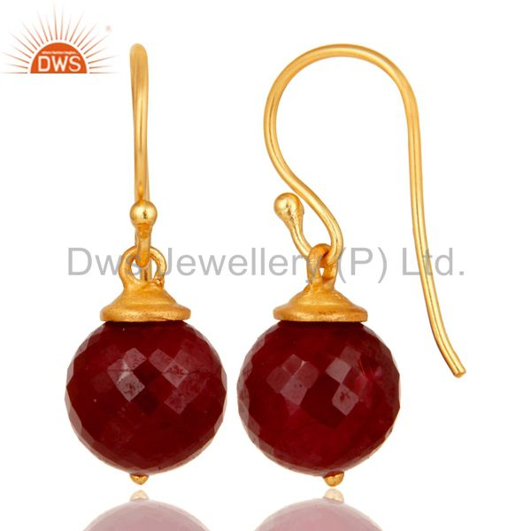 Suppliers 18K Gold Plated Sterling Silver Natural Ruby Dangle Hook Earrings For Womens