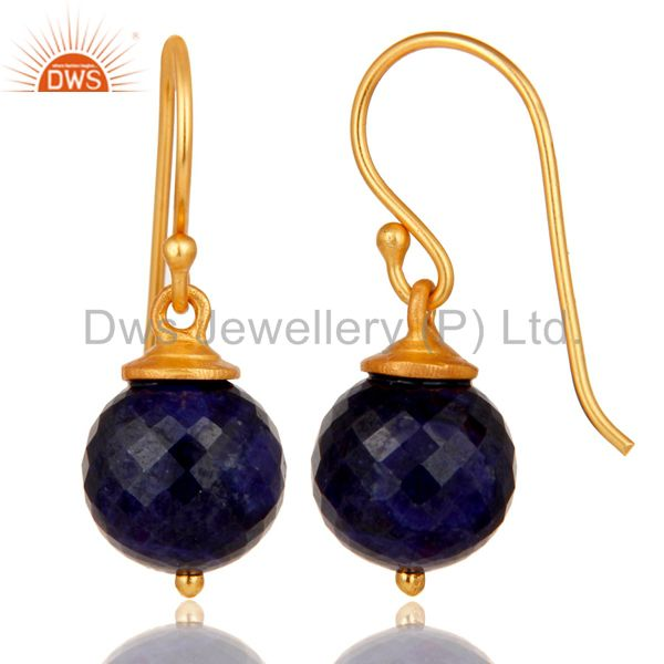 Suppliers 18K Gold Plated Sterling Silver Natural Sapphire Dangle Hook Earrings For Womens