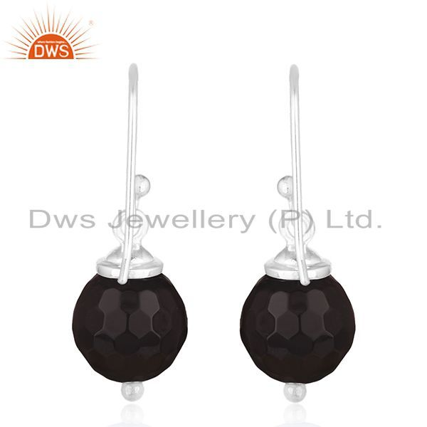 Suppliers Black Onyx Gemstone 925 Sterling Silver Drop Earrings Manufacturer of Jewellery