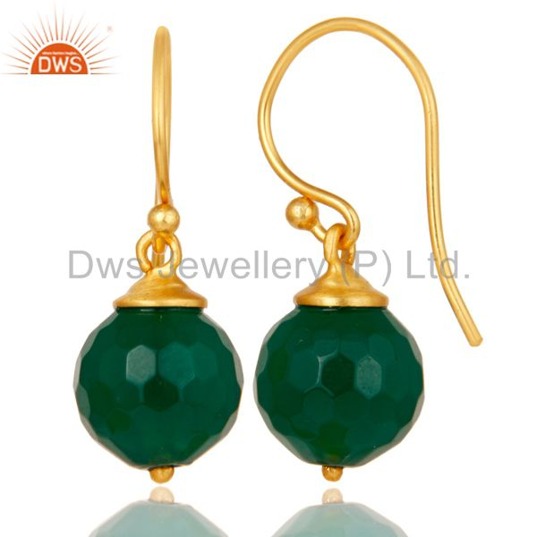 Suppliers 18K Gold Plated Sterling Silver Natural Green Onyx Dangle Hook Earring Jewellery