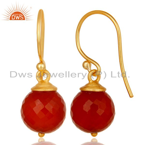 Suppliers 18K Yellow Gold Plated 925 Sterling Silver Faceted Red Onyx Drops Earrings