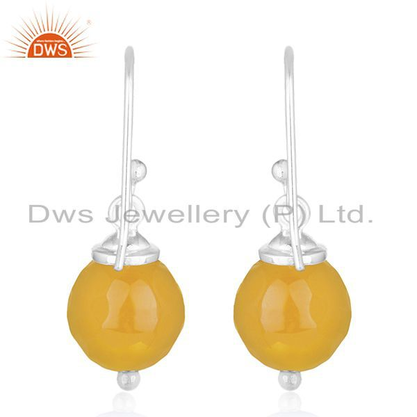 Suppliers Chalcedony Yellow Gemstone Fine Sterling Silver Handmade Earrings Wholesale