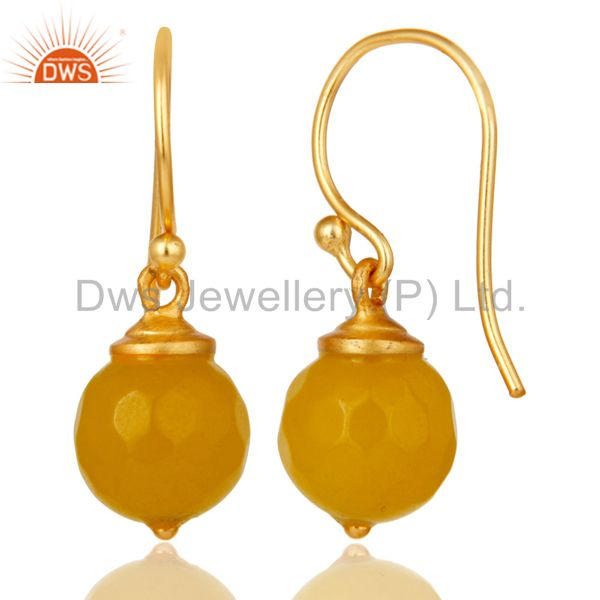 Suppliers 18K Gold Plated Sterling Silver Dyed Chalcedony Dangle Hook Earrings Jewellery