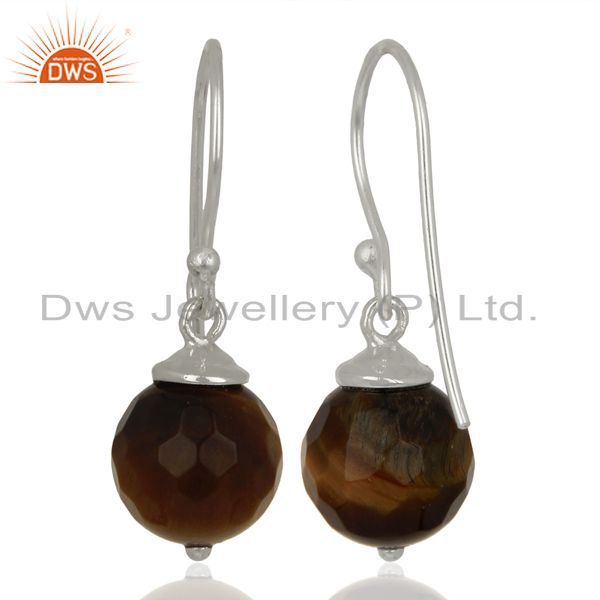 Suppliers Yellow Tiger Eye Dangle 925 Sterling Silver Earrings Gemstone Jewelry