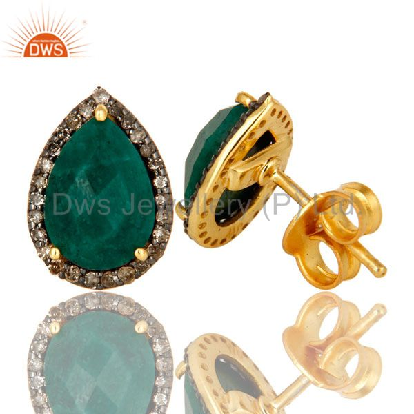 Suppliers 18K Yellow Gold Pave Diamond And Emerald Sterling Silver Drop Stud Earrings