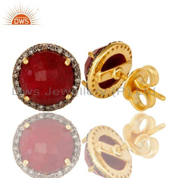 Manufacturer of 18k yellow gold pave diamond and ruby sterling silver round stud earrings