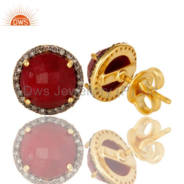 Designer of 18k yellow gold pave diamond and ruby sterling silver round stud earrings