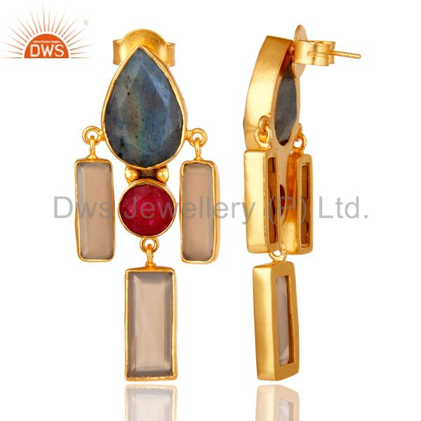 Suppliers Natural Red Aventurine Labradorite and Chalcedony Gold Plated Dangler Earring