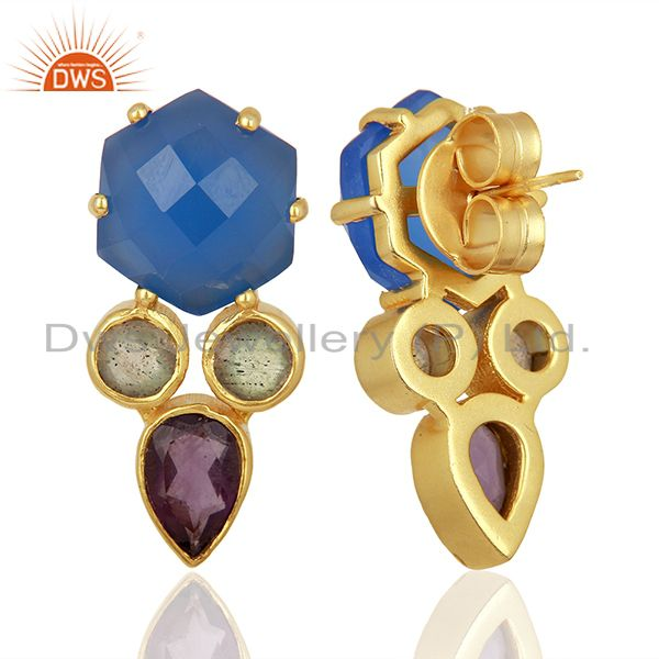 Suppliers Blue Chalcedony and Labradorite Gemstone Fashion Earrings Supplier