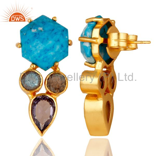 Suppliers Labradorite and Turquoise Cultured 18K Gold Plated Drop Stud Earring