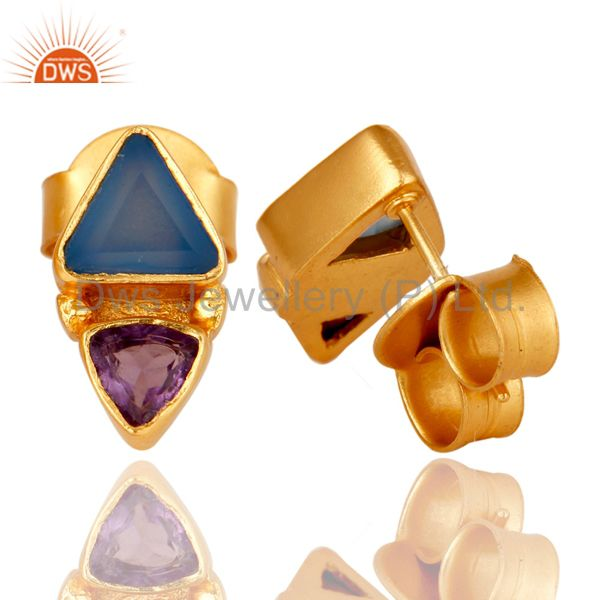 Suppliers 18K Gold Plated Amethys and Blue Chalcedony Stud Earring