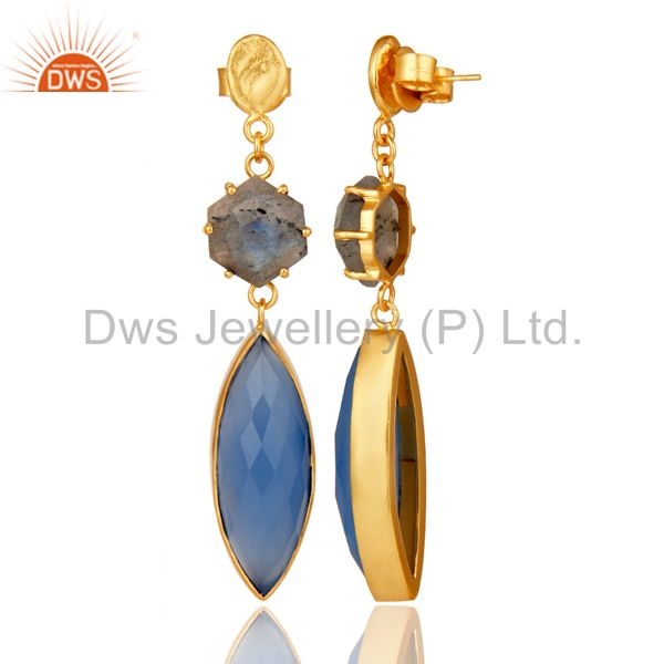 Suppliers Natural Labradorite and Blue Chlacedony 18K Gold Plated Dangler Earring