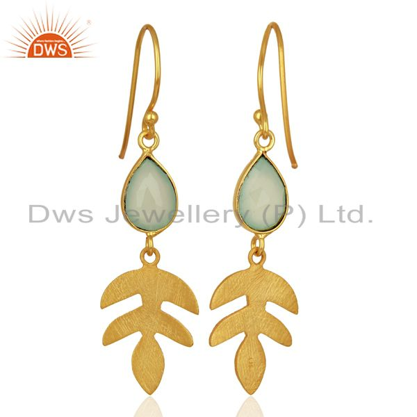 Suppliers Designer Aqua Chalcedony Gemstone Silver Earrings Jewelry Manufacturer