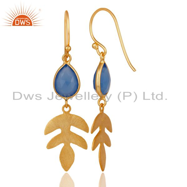 Suppliers 18K Yellow Gold Plated 925 Sterling Silver Dyed Blue Chalcedony Drops Earrings