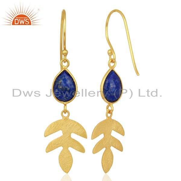 Suppliers Lapis Lazuli Dangle 14K Yellow Gold Plated 925 Sterling Silver Earrings Jewelry
