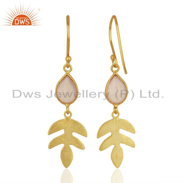Suppliers Rose Chalcedony Dangle 14K Yellow Gold Plated Sterling Silver Earrings Jewelry