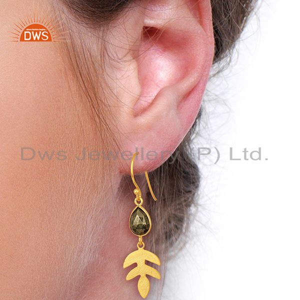 Suppliers Pyrite Dangle 14K Yellow Gold Plated 925 Sterling Silver Earrings Jewelry