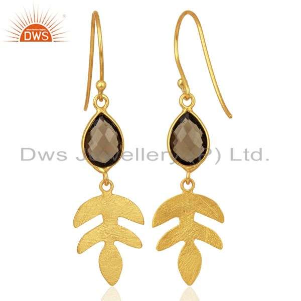 Suppliers 18K Gold Plated Sterling Silver Smokey Quartz Leaf Designer Dangle Earring