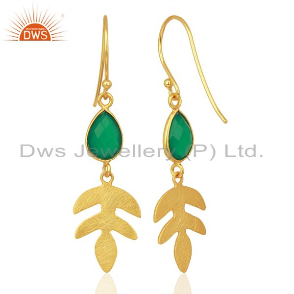 Suppliers Green Onyx Dangle 14K Gold Plated Sterling Silver Earrings Gemstone Jewelry