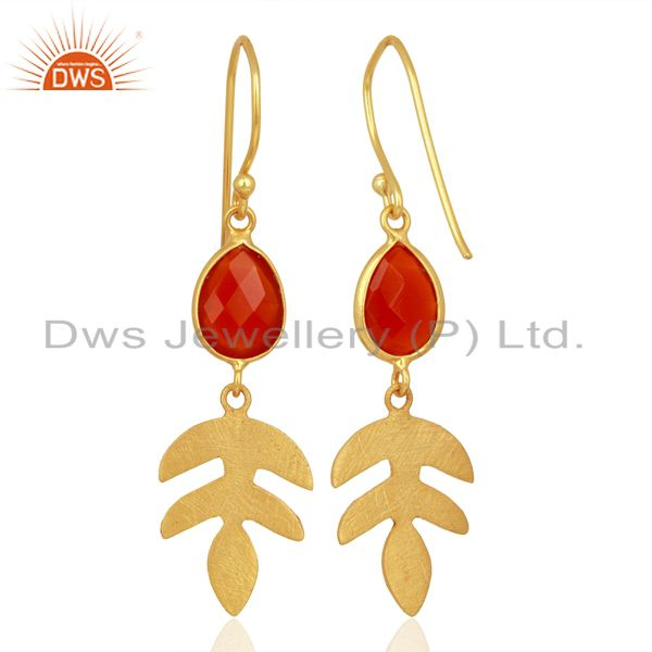 Suppliers Red Onyx Dangle 14K Gold Plated Sterling Silver Earrings Gemstone Jewelry