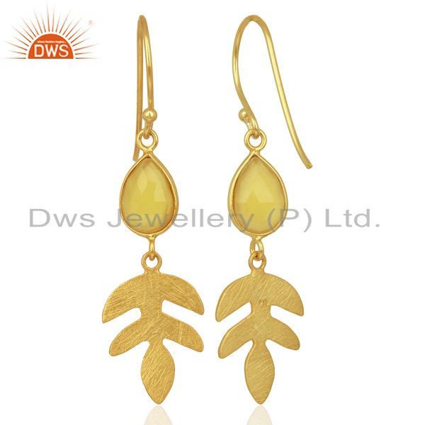 Suppliers Yellow Chalcedony Dangle Gold Plated Sterling Silver Earrings Gemstone Jewelry