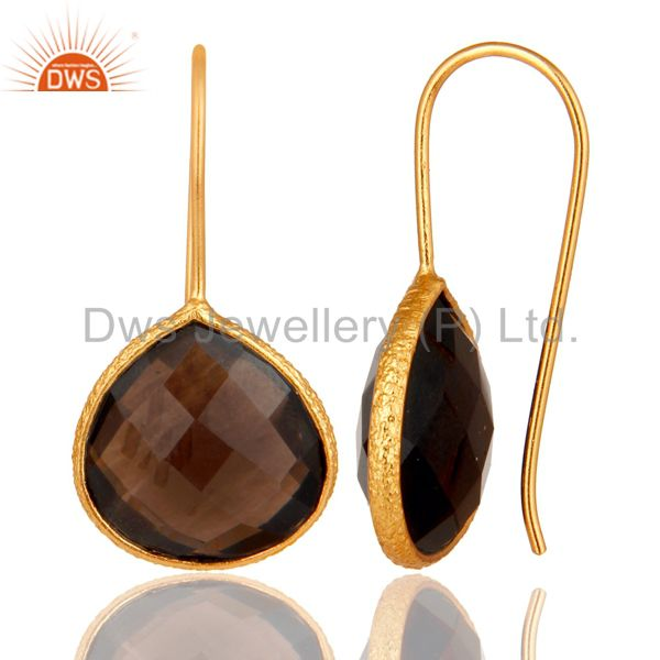 Suppliers Sterling Silver Hammered Bezel Smokey Quartz 18K Gold Plated Earring