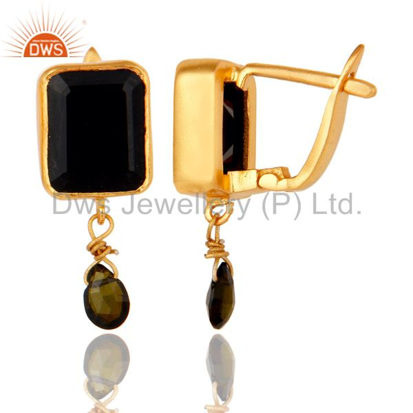 Suppliers Multi Toumaline and Black Onyx Sterling Silver 18K Gold Plated Drop Earring