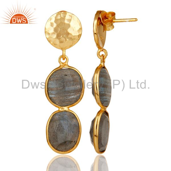 Suppliers 18K Gold Plated Sterling Silver Labradorite and Hammered Disc Dangler Earring