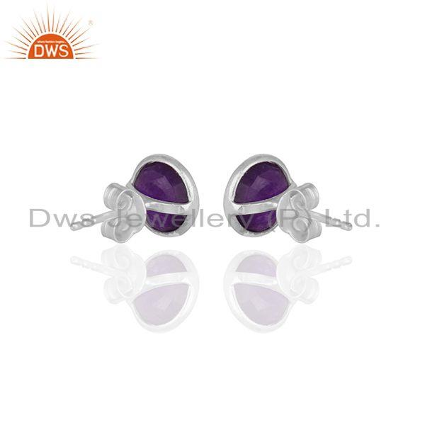 Suppliers Purple Gemstone 925 Silver Round Stud Earrings Jewelry Manufacturers