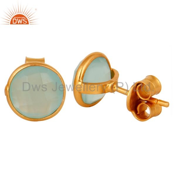 Designers 18K Yellow Gold Plated Sterling Silver Dyed Aqua Chalcedony Womens Stud Earrings
