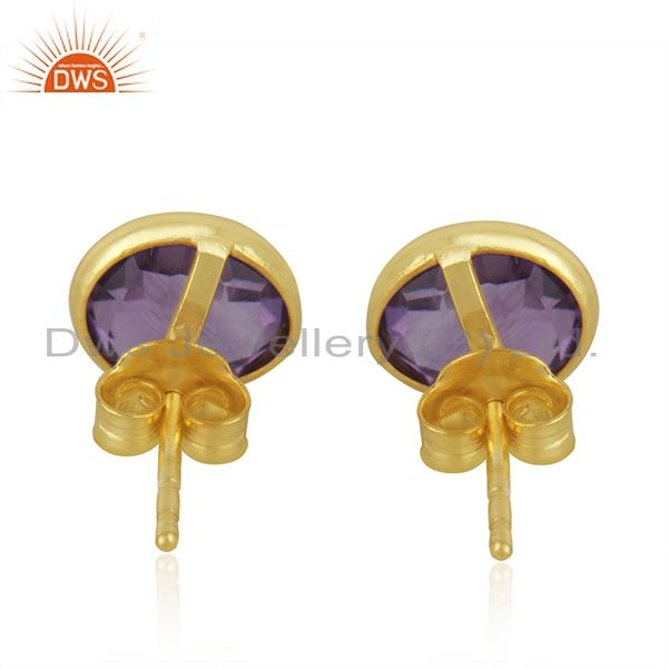Suppliers Natural Amethyst Studs 8MM Gold Plated 92.5 Sterling Silver Post Jewelry