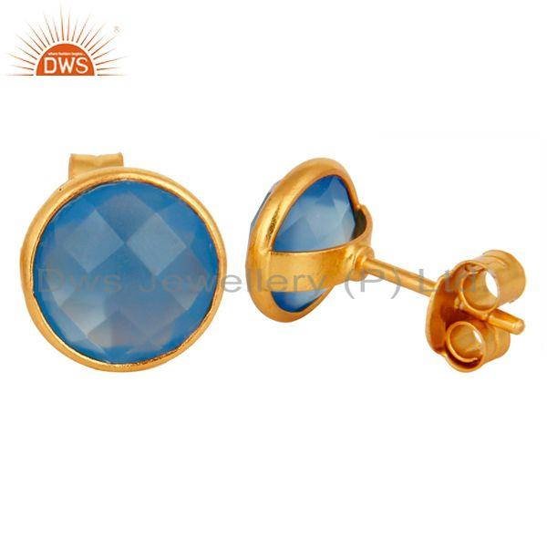 Designers Faceted Dyed Chalcedony Stone Sterling Silver Round Stud Earrings - Gold Plated